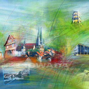 Malerei-Collage-Alfeld-Stadt-Faguswerk