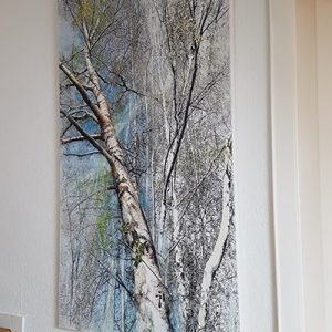 Malerei-Birken-Treppe