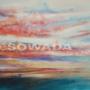 Malerei-Himmel-Wolken-rot-Ausblick