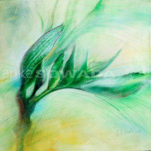 Baum-Knospe-Leinwandbild-hellgrün