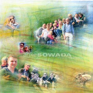 """Familienfest"" 50x50cm, Leinwand"