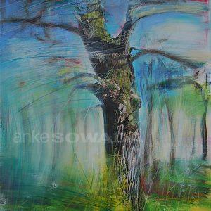 Malerei-Baum-Eiche-Hütewald