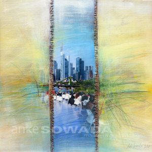 Malerei-Fluss-Frankfurt-Mainhattan