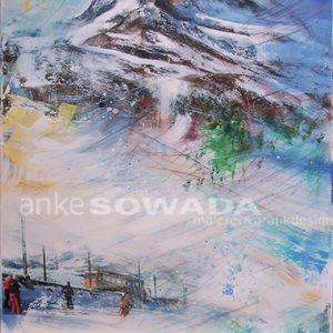 Malerei-Collage-Berge-Matterhorn-Schweiz