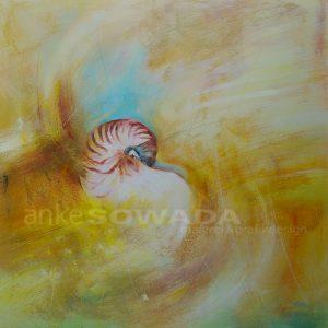 Malerei-Strand-Sand-Muschel-Nautilus