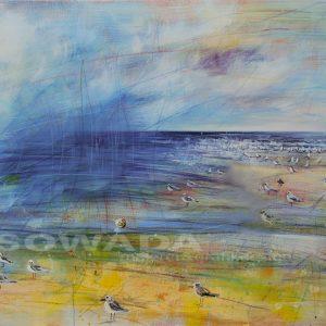 Malerei-Himmel-Strand-Fischwagen