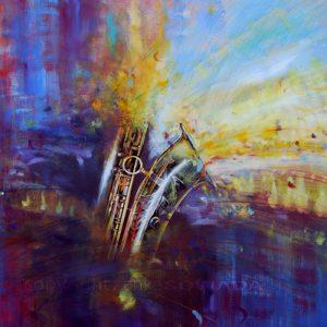 Bild-gemalt-Saxophon-Farbpunkte