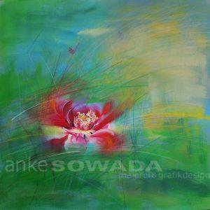 Malerei-Blume-Rose-Auftragsbild-grün