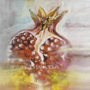 Malerei-Granatapfel-rot-Acryl