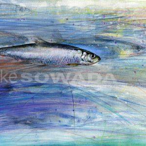 Malerei-Wasser-Fisch-blau