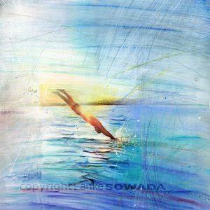 Malerei-Eintauchen-Wasser-Blau